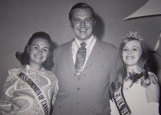 Premier Richard Bennett Hatfield at the EX. Miss Dominon of Canada 1977 - Marianne McKeen and Miss New Brunswick Bonnie Floyd